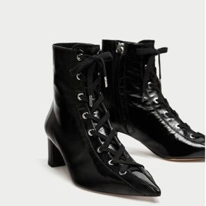ZARA 100% LEATHER LACE UP BOOTS - BRAND NEW
